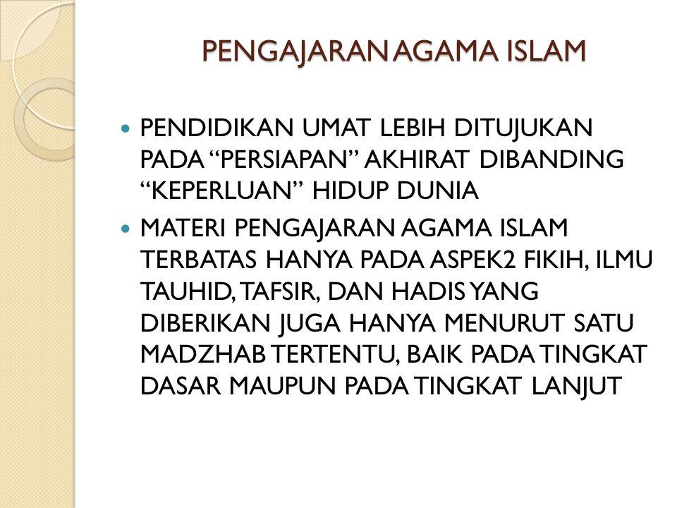 PENGAJARAN AGAMA ISLAM