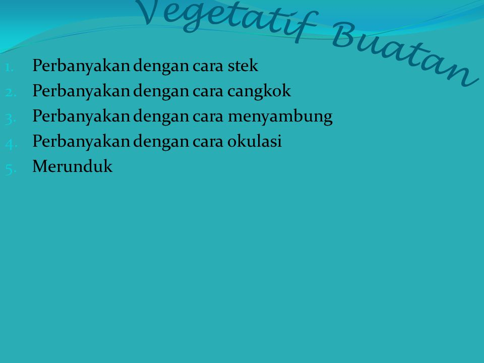 Vegetatif Buatan Perbanyakan dengan cara stek