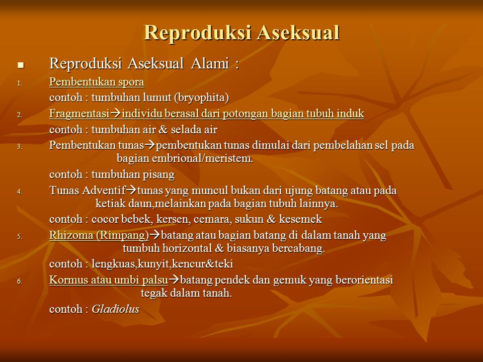 Reproduksi Aseksual Reproduksi Aseksual Alami : Pembentukan spora