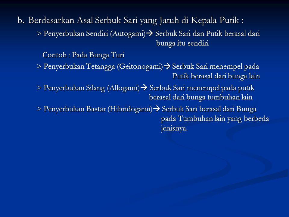 b. Berdasarkan Asal Serbuk Sari yang Jatuh di Kepala Putik :