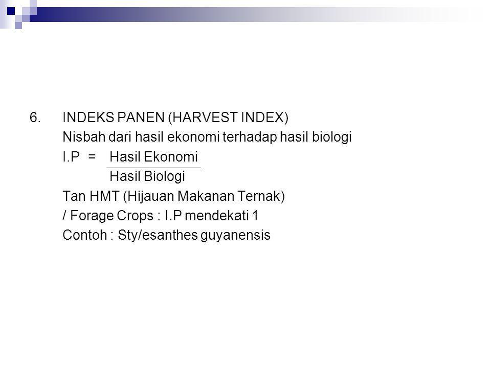 6. INDEKS PANEN (HARVEST INDEX)