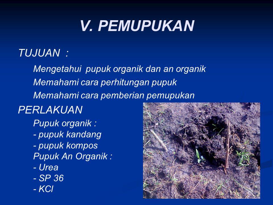 V. PEMUPUKAN TUJUAN : Mengetahui pupuk organik dan an organik