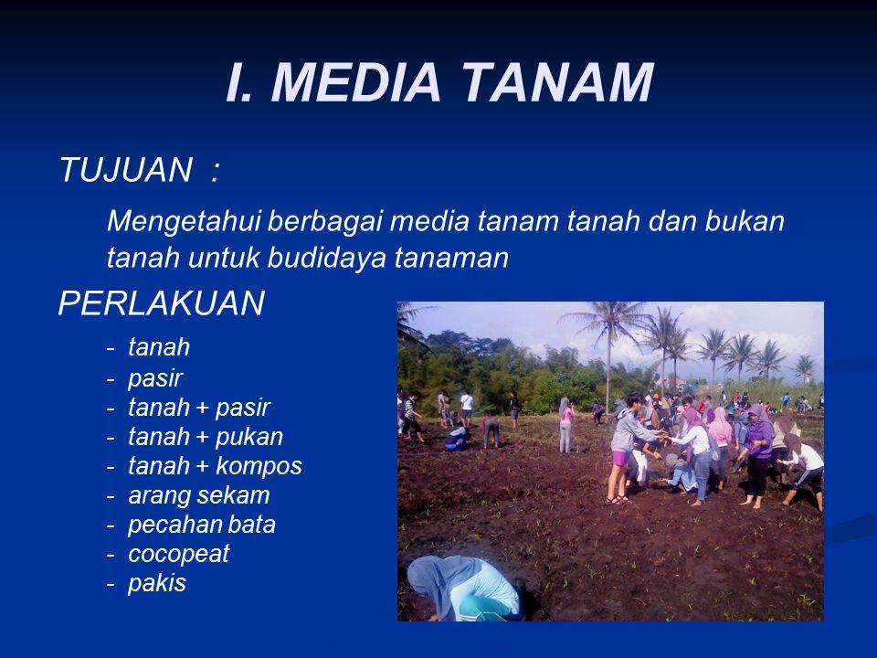 I. MEDIA TANAM TUJUAN : Mengetahui berbagai media tanam tanah dan bukan tanah untuk budidaya tanaman.
