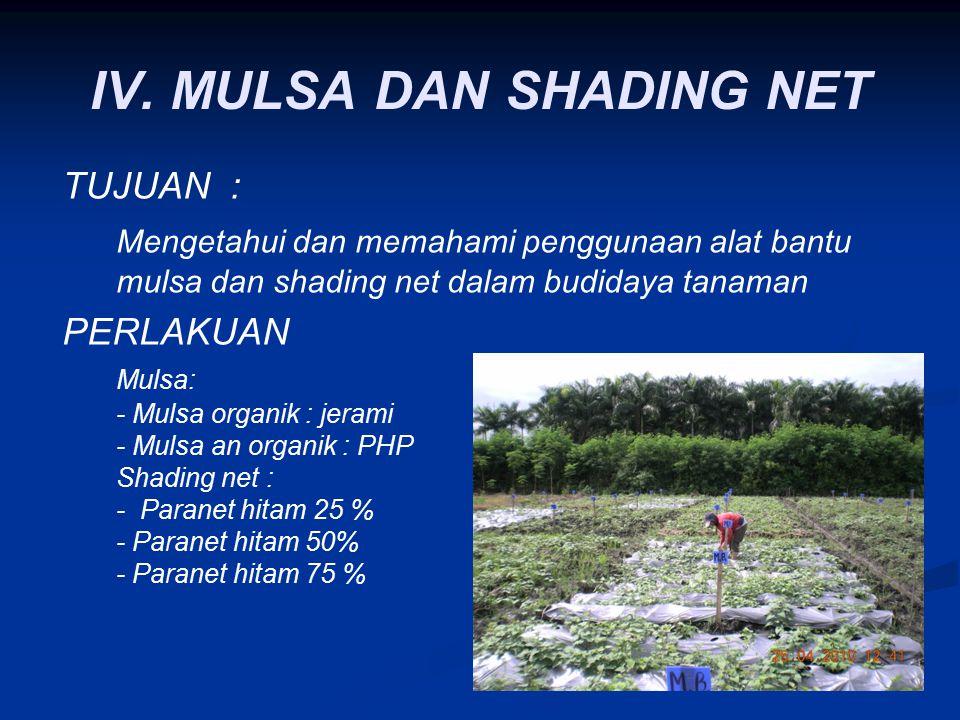 IV. MULSA DAN SHADING NET