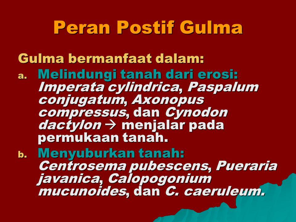 Peran Postif Gulma Gulma bermanfaat dalam: