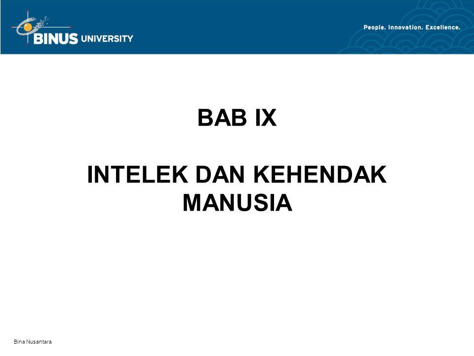 BAB IX INTELEK DAN KEHENDAK MANUSIA
