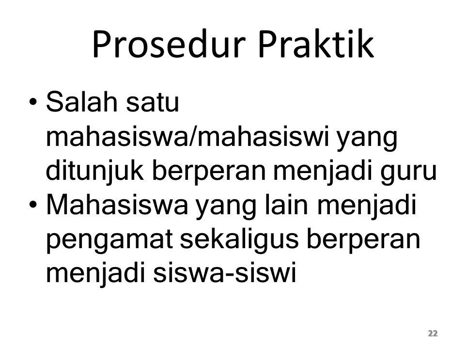 Prosedur Praktik Salah satu mahasiswa/mahasiswi yang ditunjuk berperan menjadi guru.