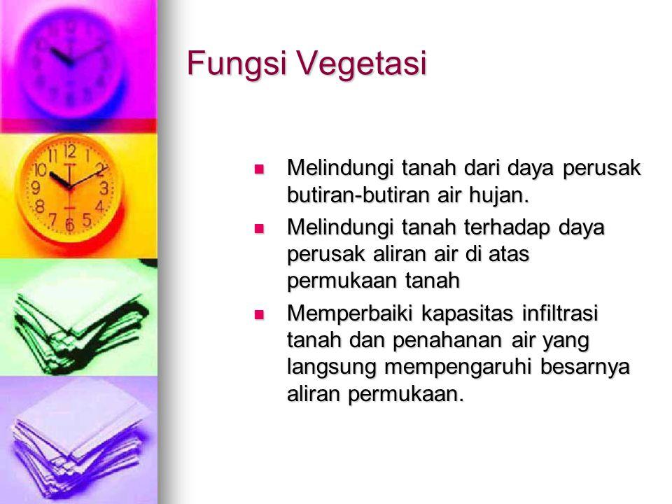 Fungsi Vegetasi Melindungi tanah dari daya perusak butiran-butiran air hujan.