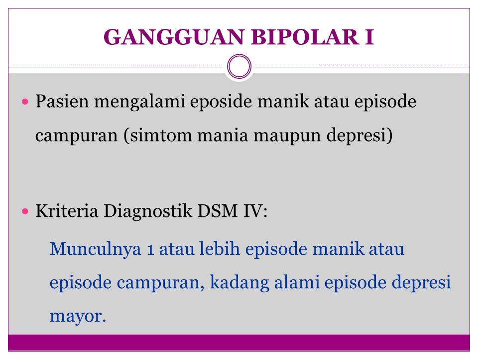GANGGUAN BIPOLAR I Pasien mengalami eposide manik atau episode campuran (simtom mania maupun depresi)