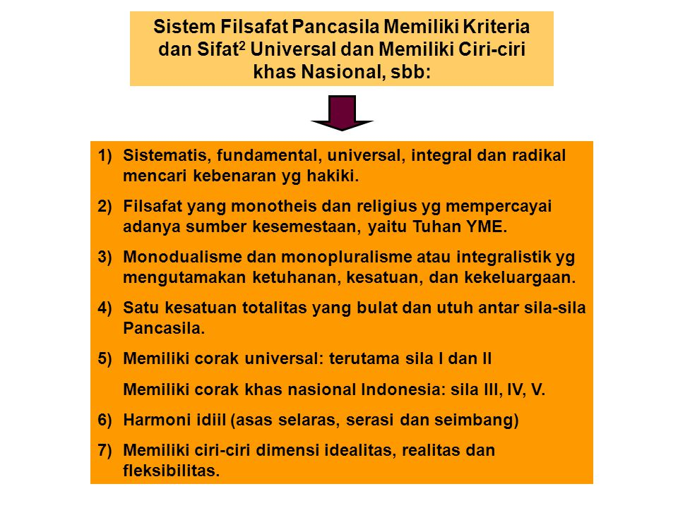 Sistem Filsafat Pancasila Memiliki Kriteria dan Sifat2 Universal dan Memiliki Ciri-ciri khas Nasional, sbb: