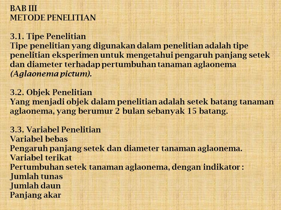 BAB III METODE PENELITIAN 3. 1
