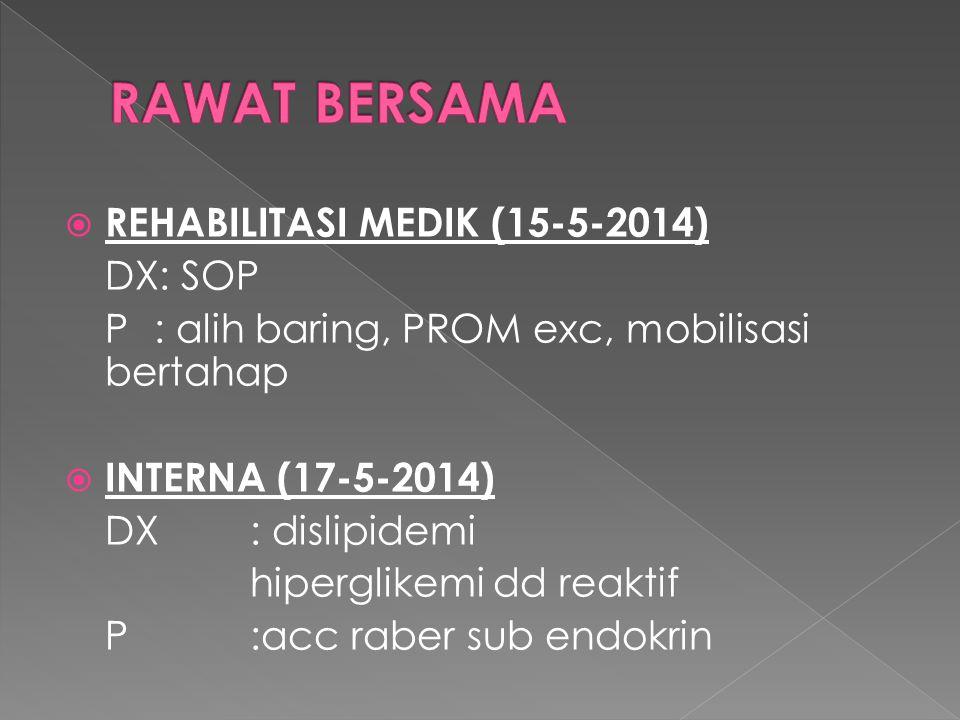 RAWAT BERSAMA REHABILITASI MEDIK (15-5-2014) DX: SOP
