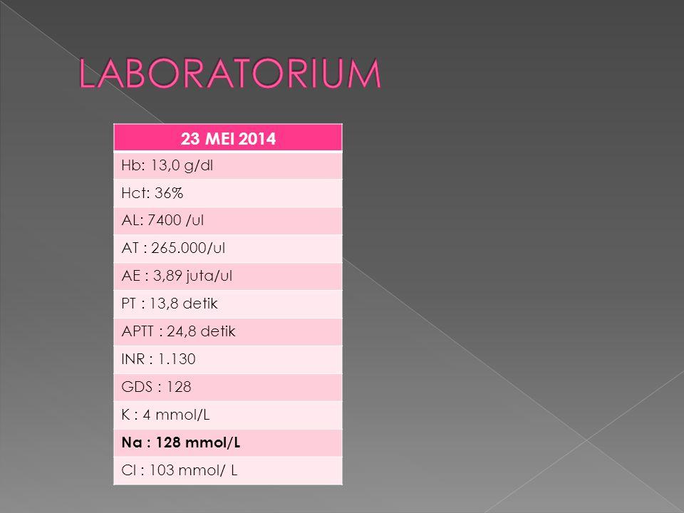 LABORATORIUM 23 MEI 2014 Hb: 13,0 g/dl Hct: 36% AL: 7400 /ul
