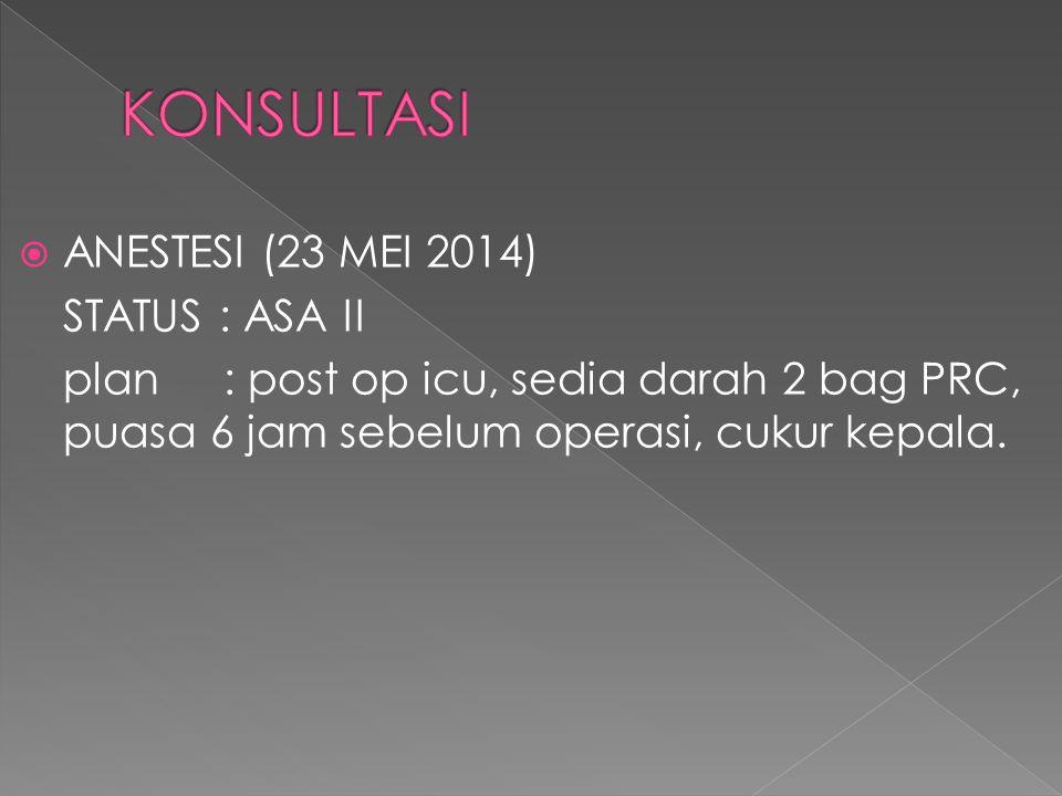 KONSULTASI ANESTESI (23 MEI 2014) STATUS : ASA II
