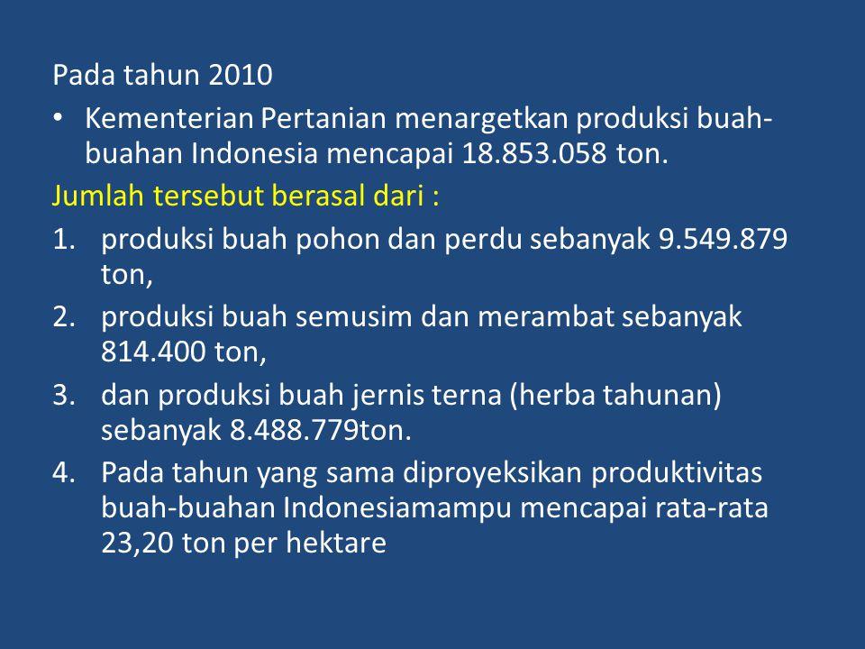 Pada tahun 2010 Kementerian Pertanian menargetkan produksi buah-buahan Indonesia mencapai 18.853.058 ton.