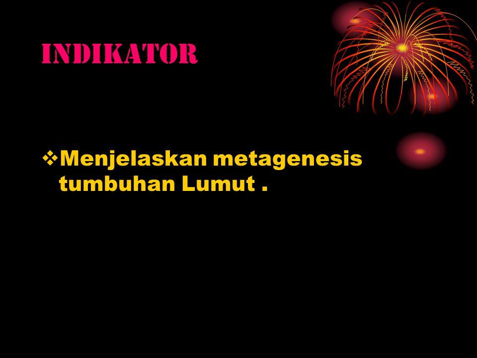 INDIKATOR Menjelaskan metagenesis tumbuhan Lumut .