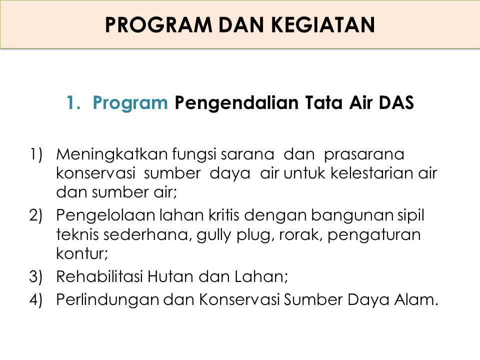 Program Pengendalian Tata Air DAS