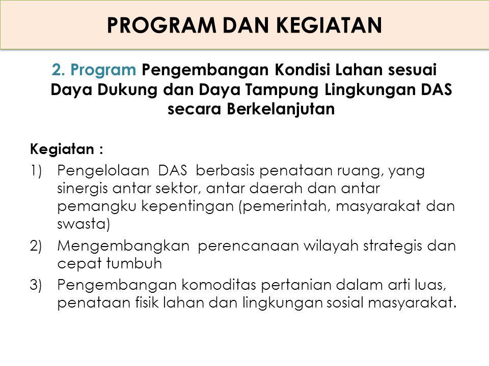 PROGRAM DAN KEGIATAN 2. Program Pengembangan Kondisi Lahan sesuai Daya Dukung dan Daya Tampung Lingkungan DAS secara Berkelanjutan.