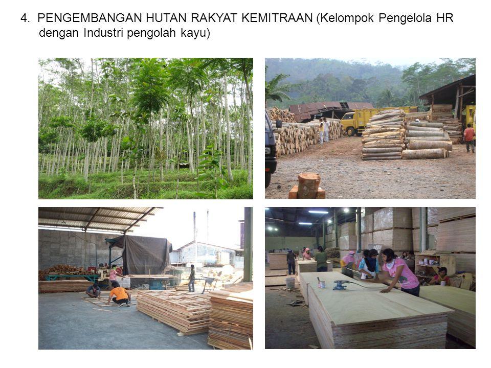 4. PENGEMBANGAN HUTAN RAKYAT KEMITRAAN (Kelompok Pengelola HR dengan Industri pengolah kayu)