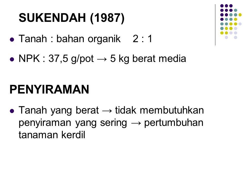 PENYIRAMAN SUKENDAH (1987) Tanah : bahan organik 2 : 1