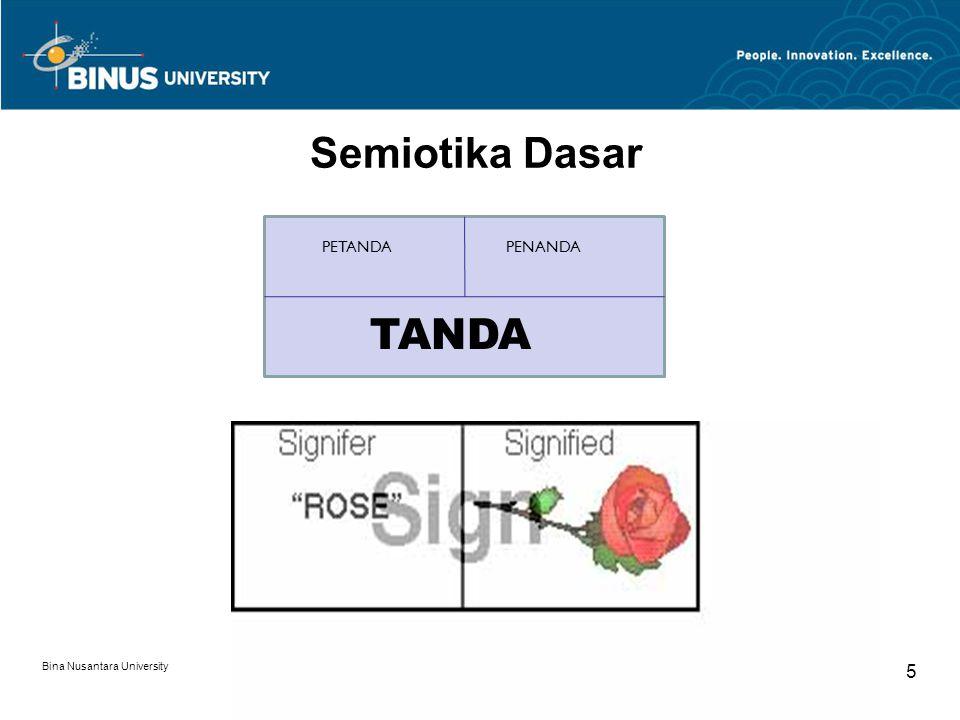 Semiotika Dasar PETANDA PENANDA TANDA TANDA Bina Nusantara University