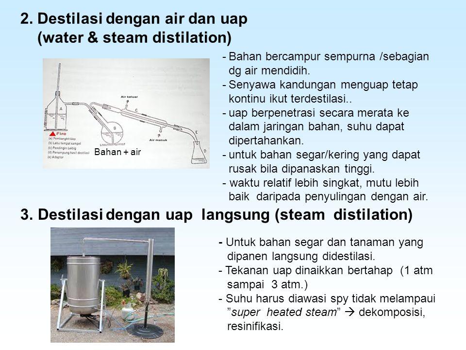 2. Destilasi dengan air dan uap (water & steam distilation)