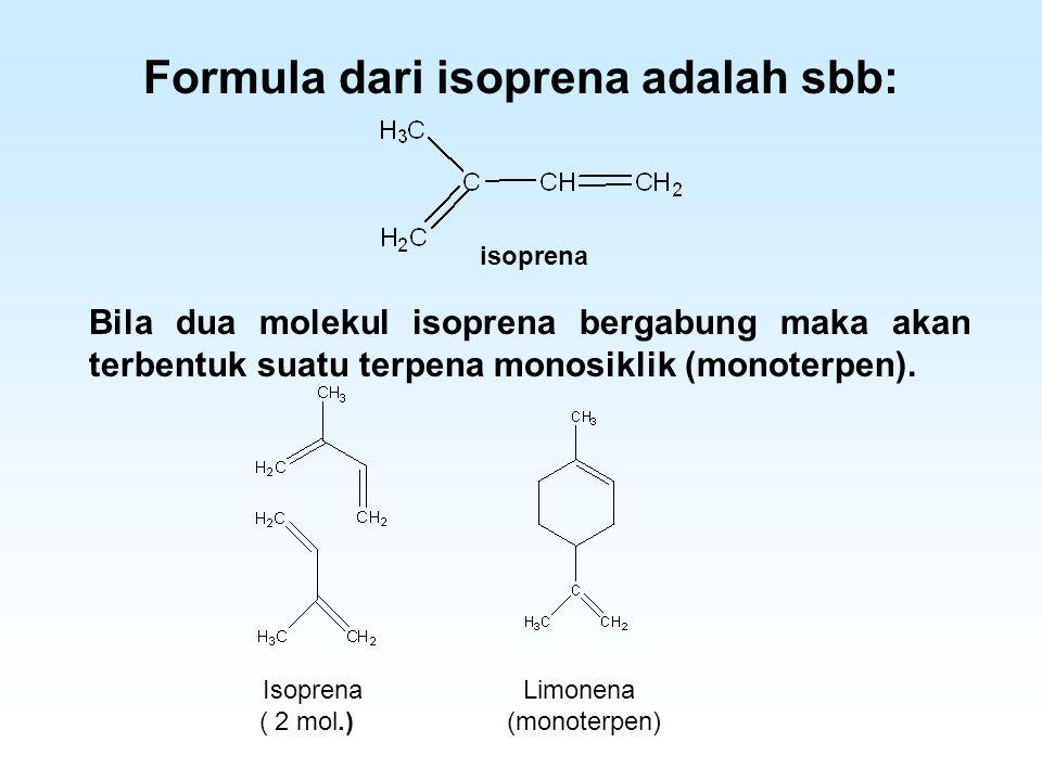 Formula dari isoprena adalah sbb: