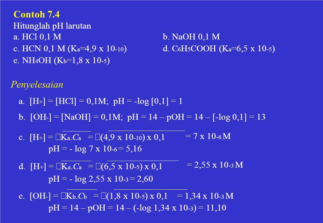 Contoh 7.4 Penyelesaian Hitunglah pH larutan a. HCl 0,1 M