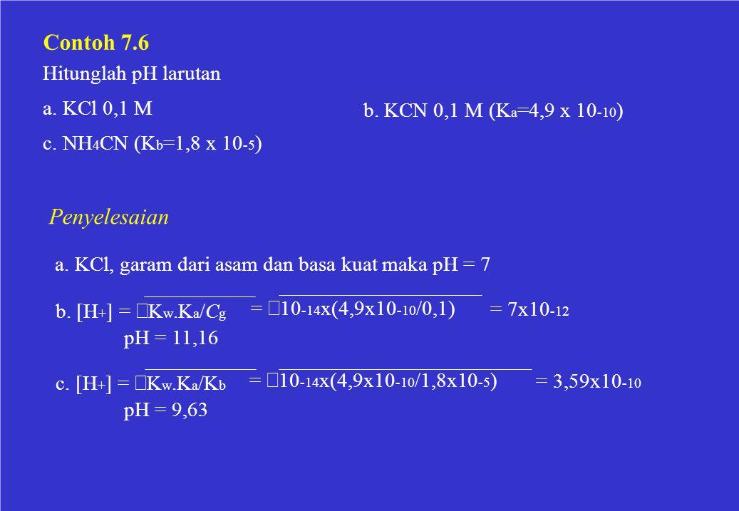 a. KCl, garam dari asam dan basa kuat maka pH = 7