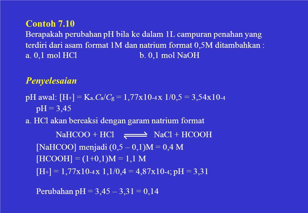 Contoh 7.10 Berapakah perubahan pH bila ke dalam 1L campuran penahan yang. terdiri dari asam format 1M dan natrium format 0,5M ditambahkan :