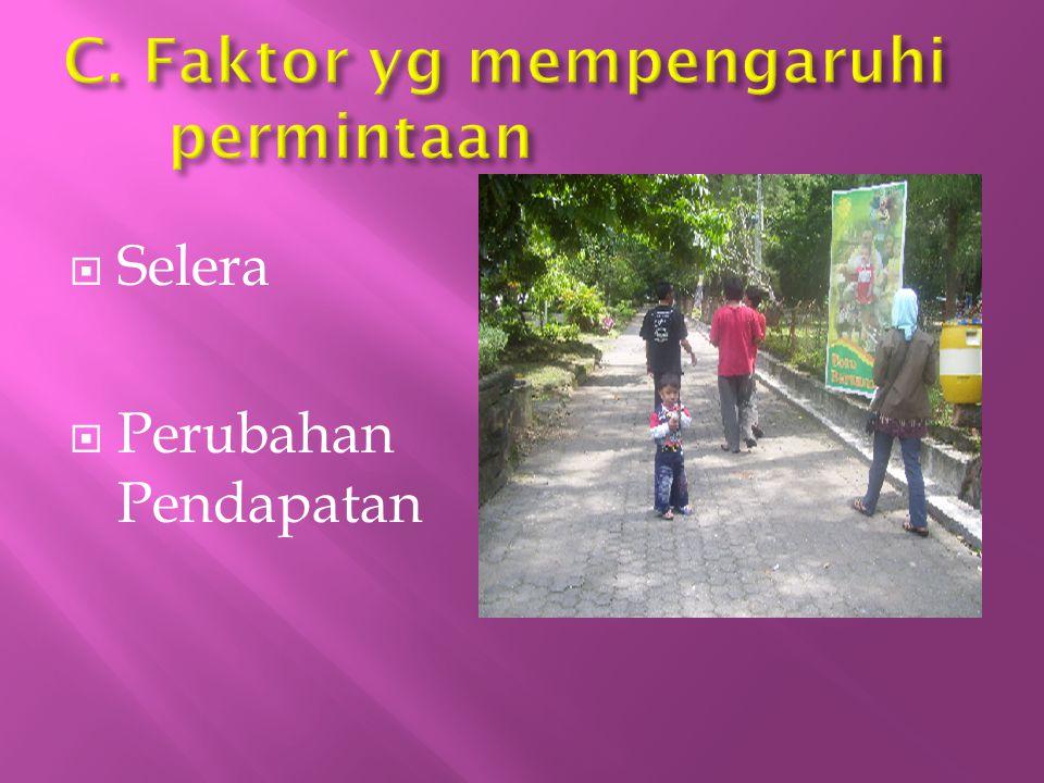 C. Faktor yg mempengaruhi permintaan