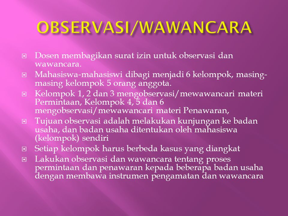 OBSERVASI/WAWANCARA Dosen membagikan surat izin untuk observasi dan wawancara.