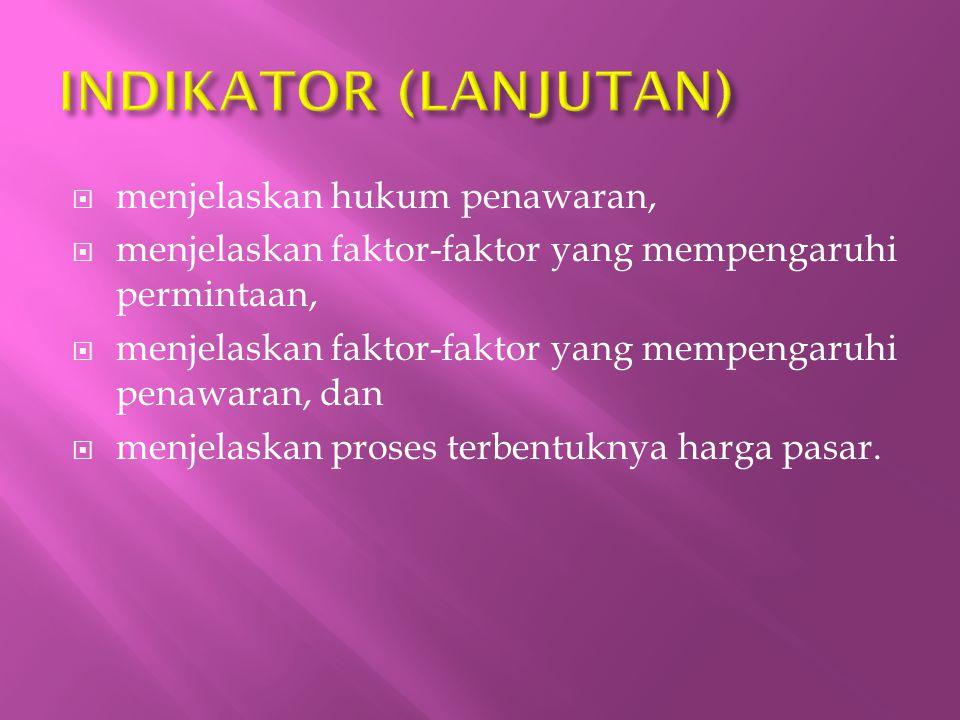 INDIKATOR (LANJUTAN) menjelaskan hukum penawaran,