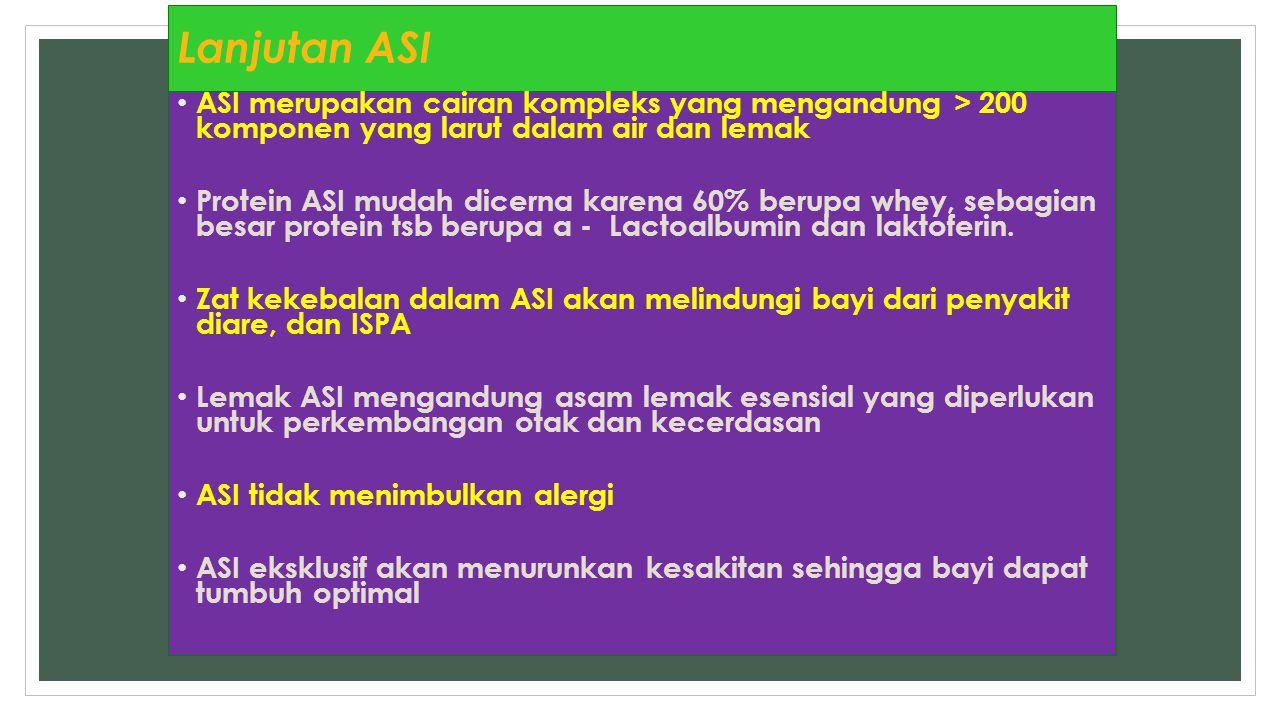Lanjutan ASI ASI merupakan cairan kompleks yang mengandung > 200 komponen yang larut dalam air dan lemak.