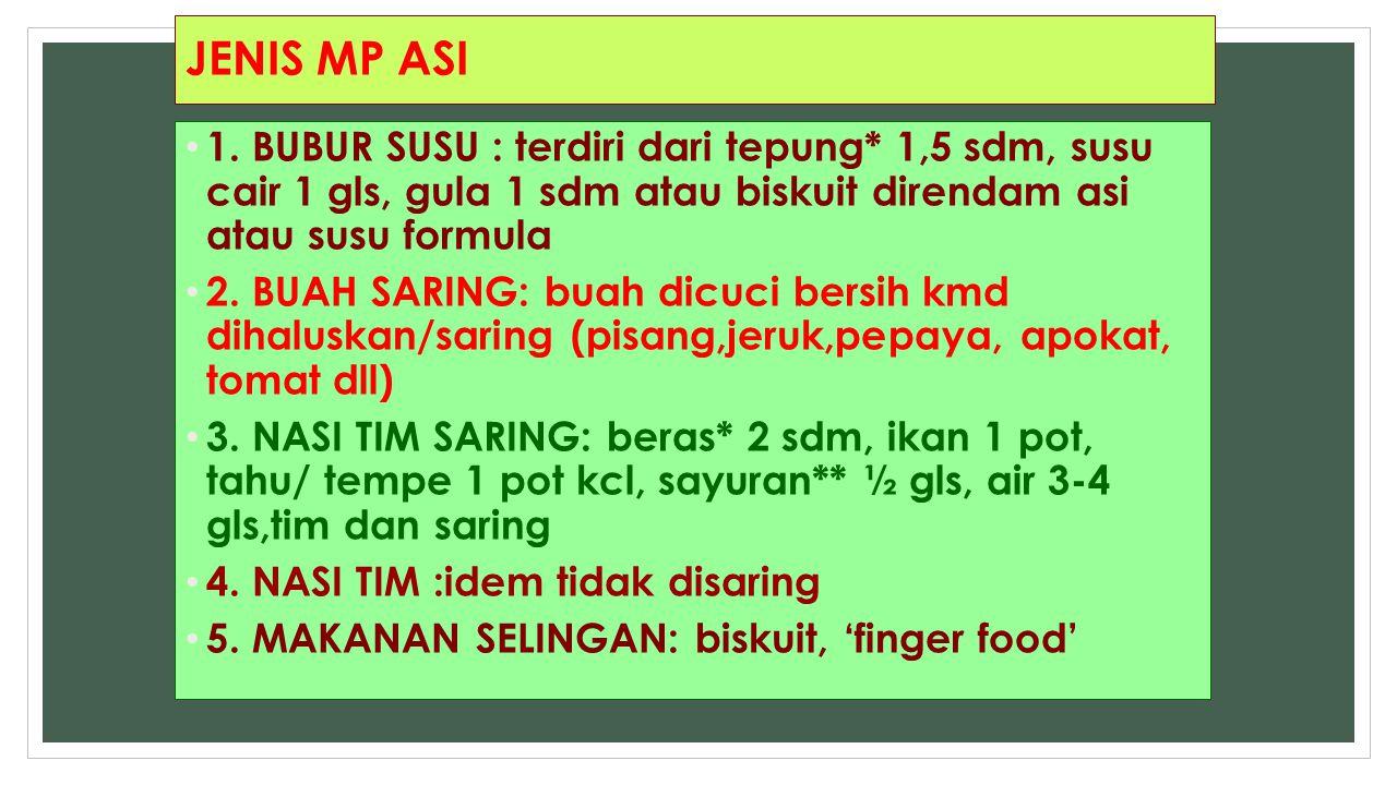 JENIS MP ASI 1. BUBUR SUSU : terdiri dari tepung* 1,5 sdm, susu cair 1 gls, gula 1 sdm atau biskuit direndam asi atau susu formula.