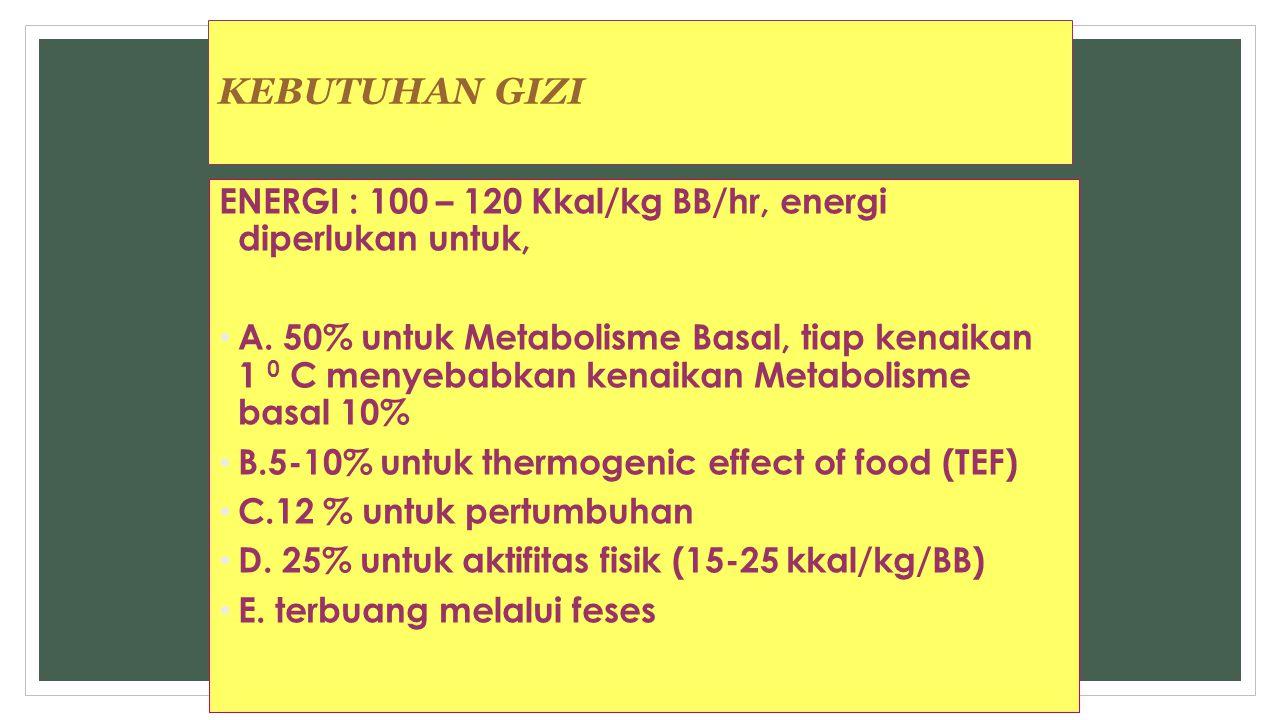 KEBUTUHAN GIZI ENERGI : 100 – 120 Kkal/kg BB/hr, energi diperlukan untuk,