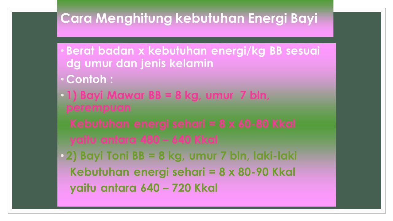 Cara Menghitung kebutuhan Energi Bayi