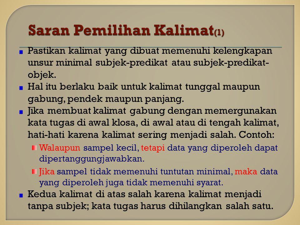 Saran Pemilihan Kalimat(1)