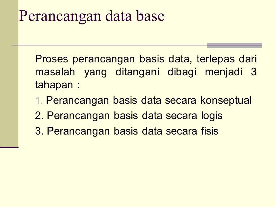 Perancangan data base Proses perancangan basis data, terlepas dari masalah yang ditangani dibagi menjadi 3 tahapan :