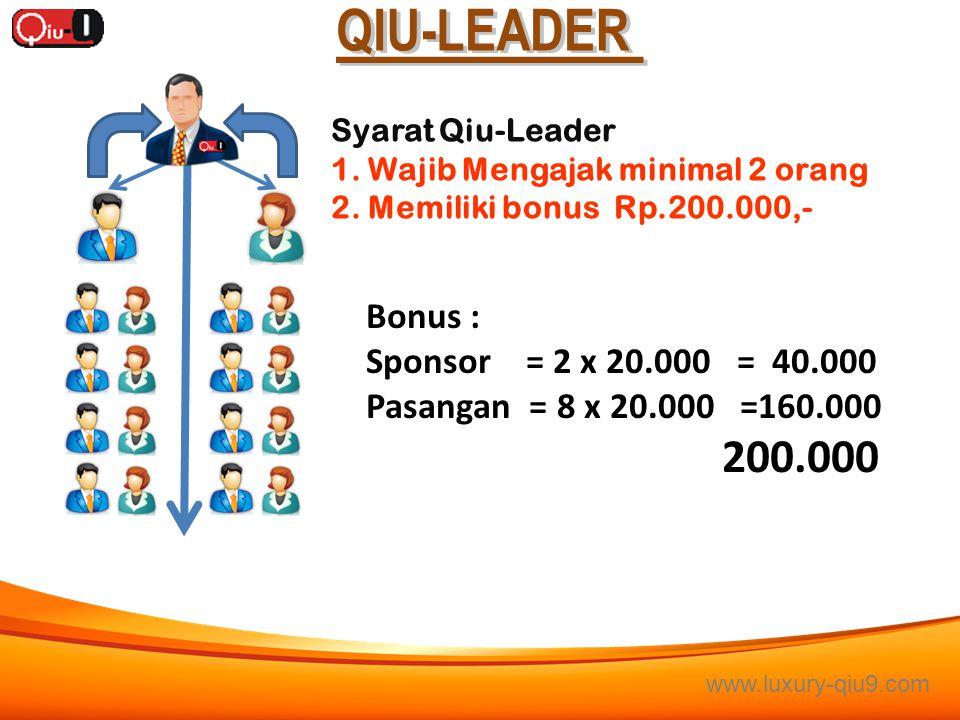 QIU-LEADER Bonus : Sponsor = 2 x 20.000 = 40.000