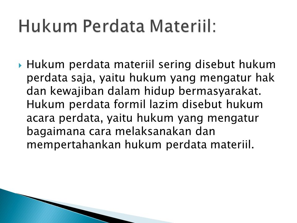 Hukum Perdata Materiil: