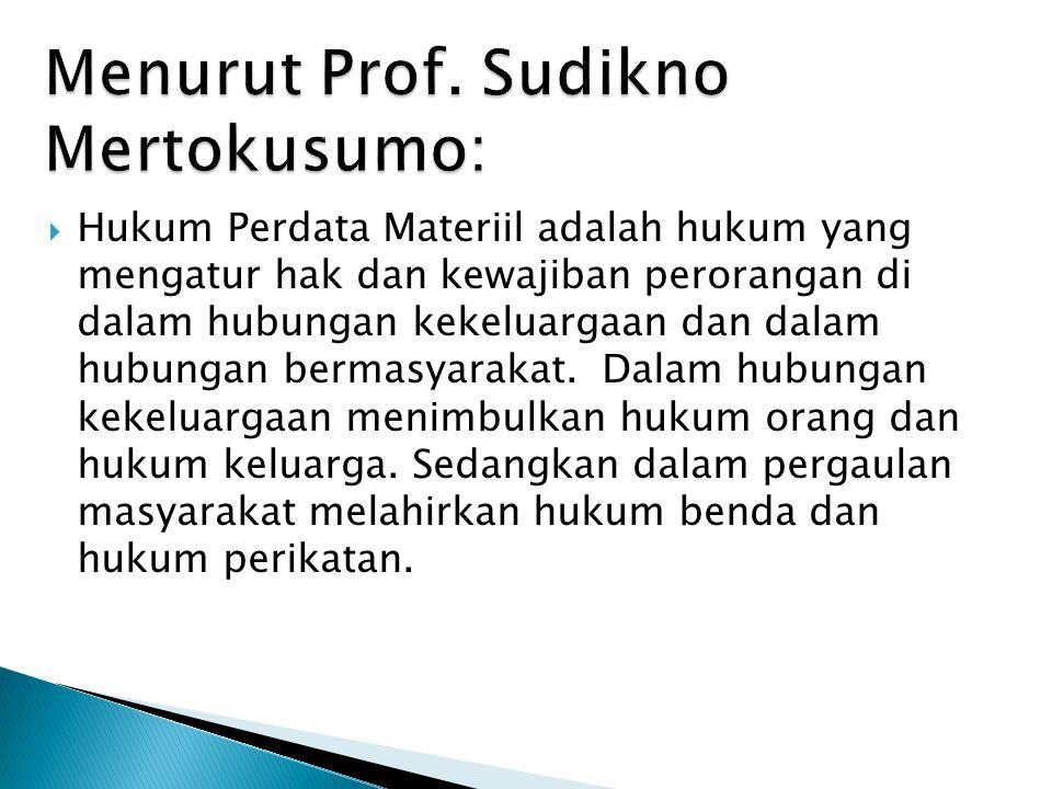 Menurut Prof. Sudikno Mertokusumo: