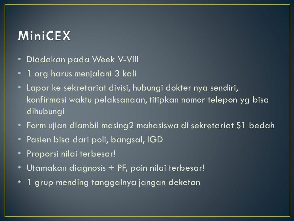 MiniCEX Diadakan pada Week V-VIII 1 org harus menjalani 3 kali