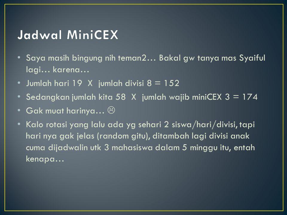 Jadwal MiniCEX Saya masih bingung nih teman2… Bakal gw tanya mas Syaiful lagi… karena… Jumlah hari 19 X jumlah divisi 8 = 152.