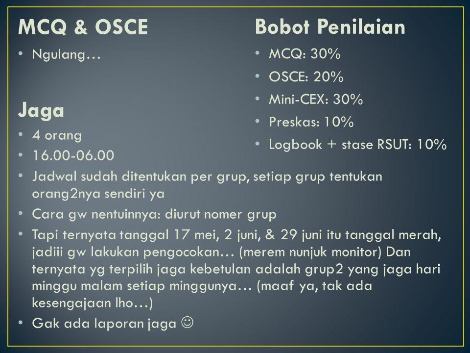 MCQ & OSCE Bobot Penilaian Jaga Ngulang… MCQ: 30% OSCE: 20%