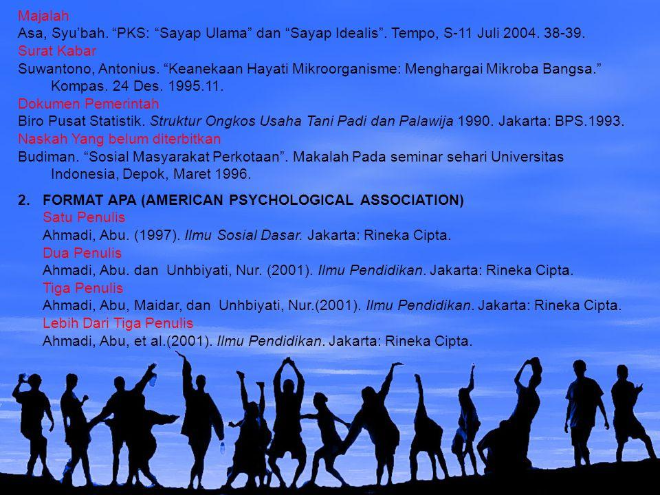 Majalah Asa, Syu'bah. PKS: Sayap Ulama dan Sayap Idealis . Tempo, S-11 Juli 2004. 38-39. Surat Kabar.