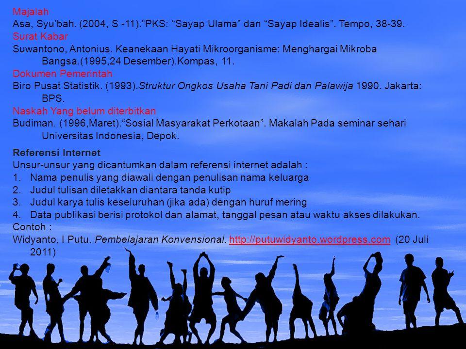 Majalah Asa, Syu'bah. (2004, S -11). PKS: Sayap Ulama dan Sayap Idealis . Tempo, 38-39. Surat Kabar.