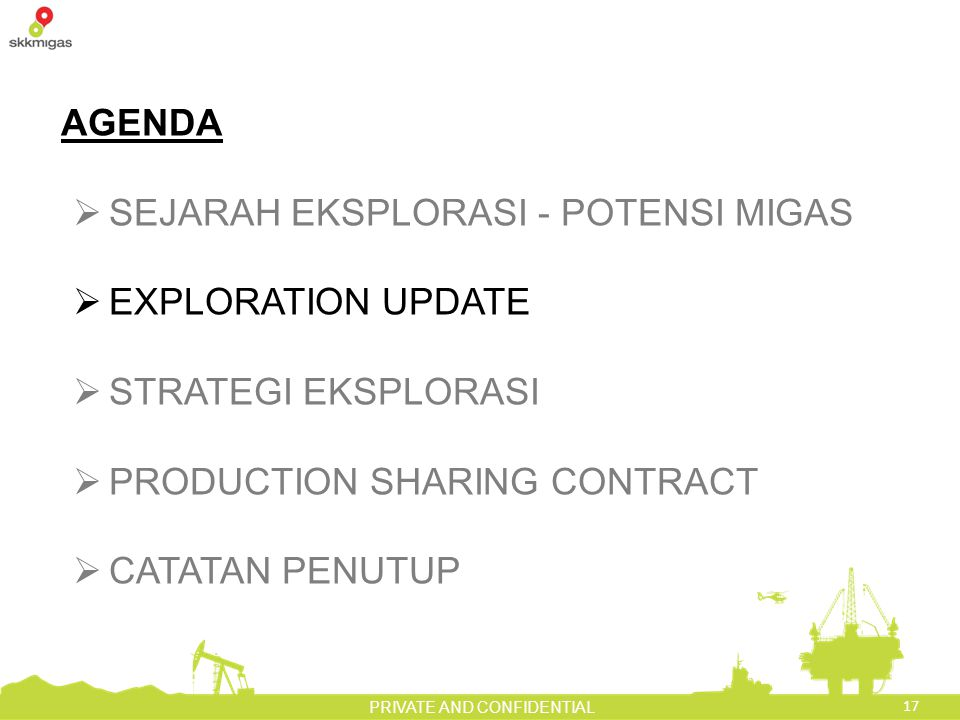 AGENDA SEJARAH EKSPLORASI - POTENSI MIGAS. EXPLORATION UPDATE. STRATEGI EKSPLORASI. PRODUCTION SHARING CONTRACT.
