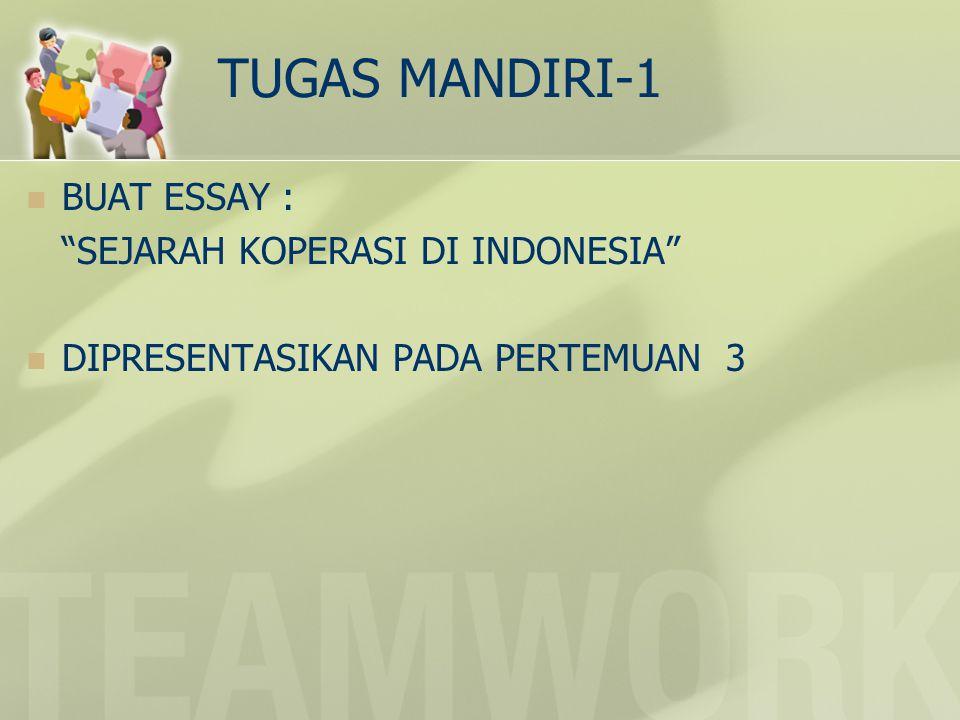 TUGAS MANDIRI-1 BUAT ESSAY : SEJARAH KOPERASI DI INDONESIA