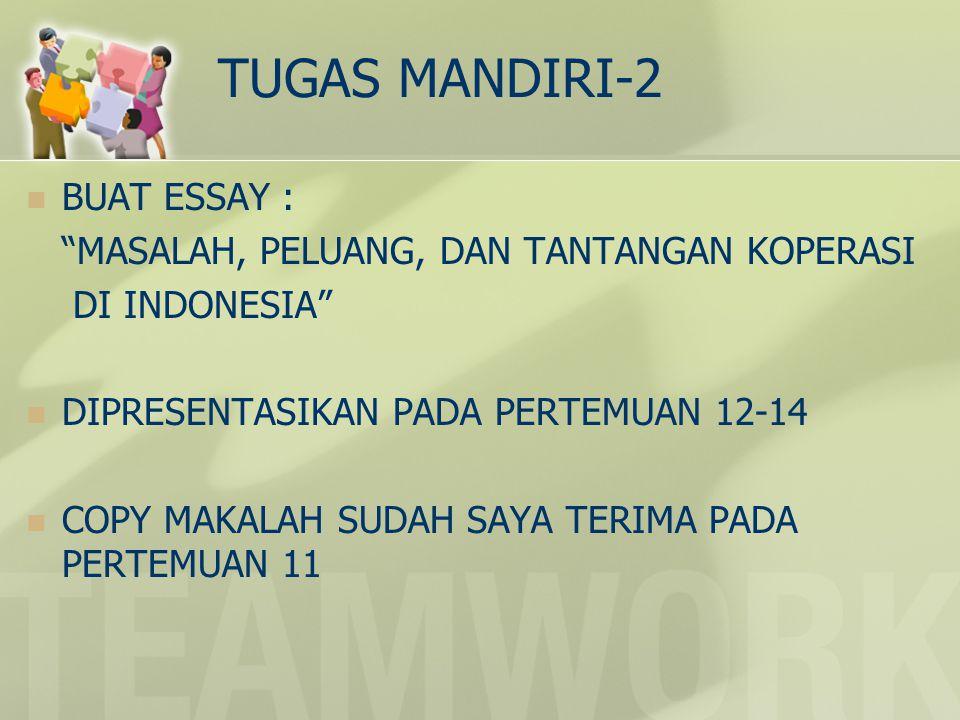 TUGAS MANDIRI-2 BUAT ESSAY : MASALAH, PELUANG, DAN TANTANGAN KOPERASI